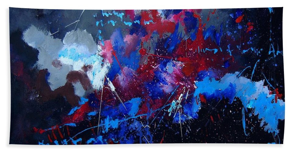 Abstract Hand Towel featuring the painting Abstract 77902171 by Pol Ledent