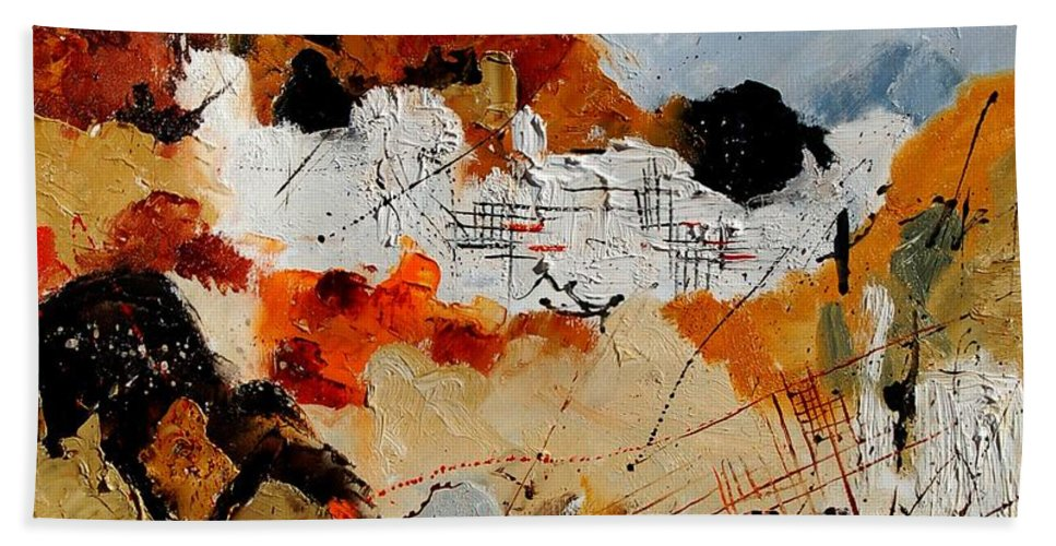 Abstract Bath Sheet featuring the painting Abstract 780708 by Pol Ledent