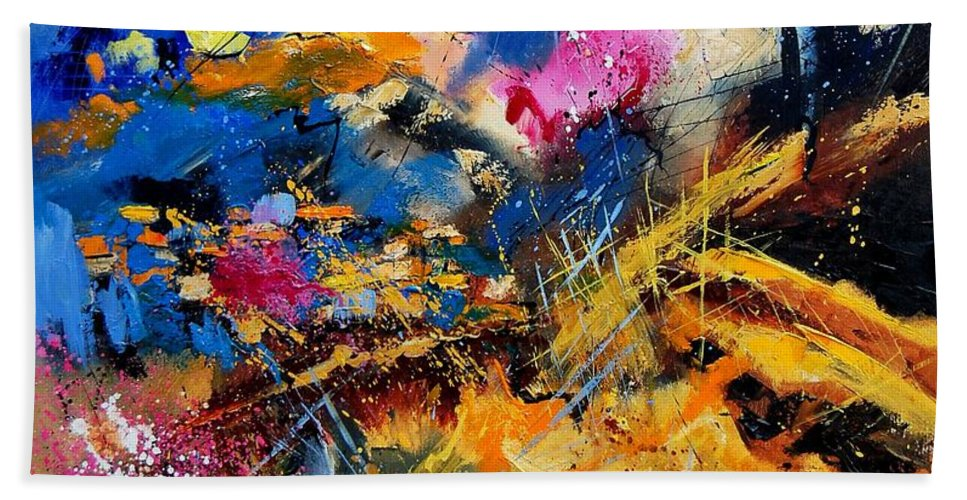 Abstract Hand Towel featuring the painting Abstract 7808082 by Pol Ledent