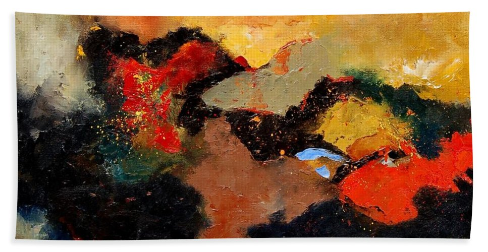 Abstract Bath Sheet featuring the painting Abstract 8080 by Pol Ledent