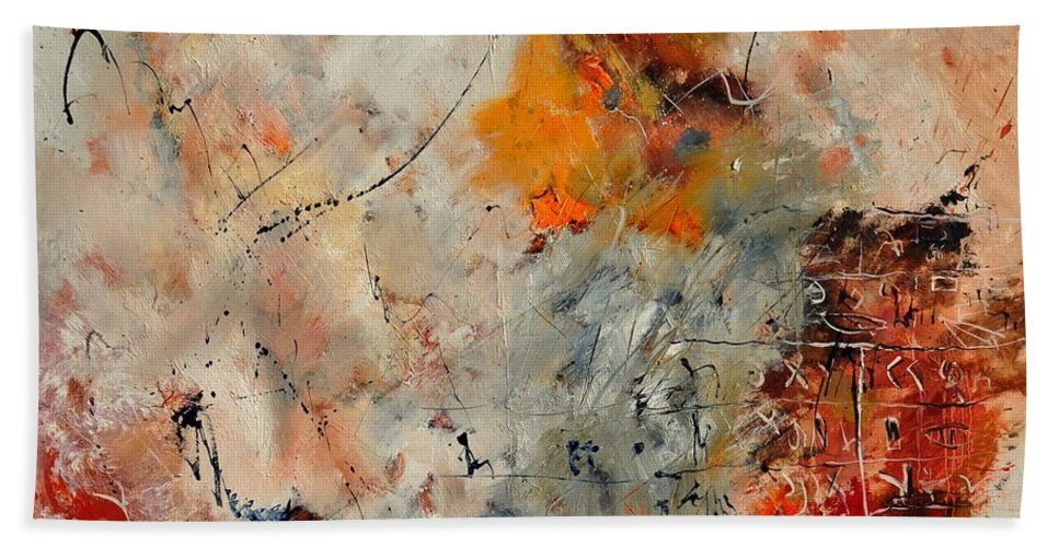 Abstract Bath Sheet featuring the painting Abstract 880150 by Pol Ledent