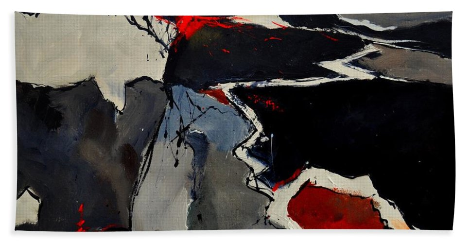 Abstract Bath Sheet featuring the painting Abstract 881110 by Pol Ledent