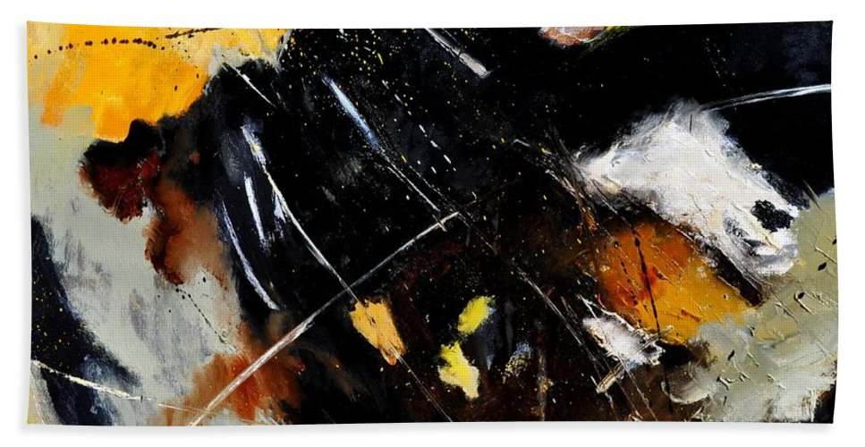 Abstract Bath Sheet featuring the painting Abstract 8811601 by Pol Ledent