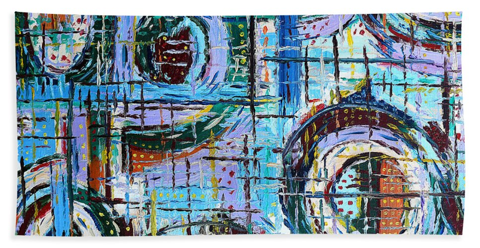 Abstract Hand Towel featuring the painting Abstract 9 by Patrick J Murphy
