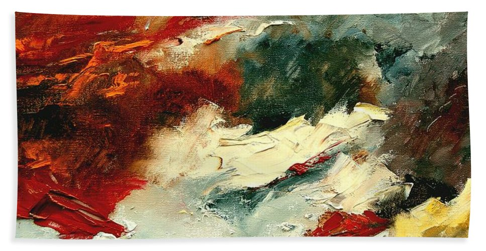 Abstract Hand Towel featuring the painting Abstract 9 by Pol Ledent