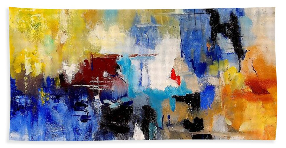 Abstract Hand Towel featuring the painting Abstract 900003 by Pol Ledent
