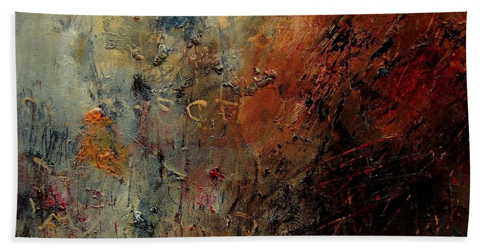 Abstract Hand Towel featuring the painting Abstract 900192 by Pol Ledent