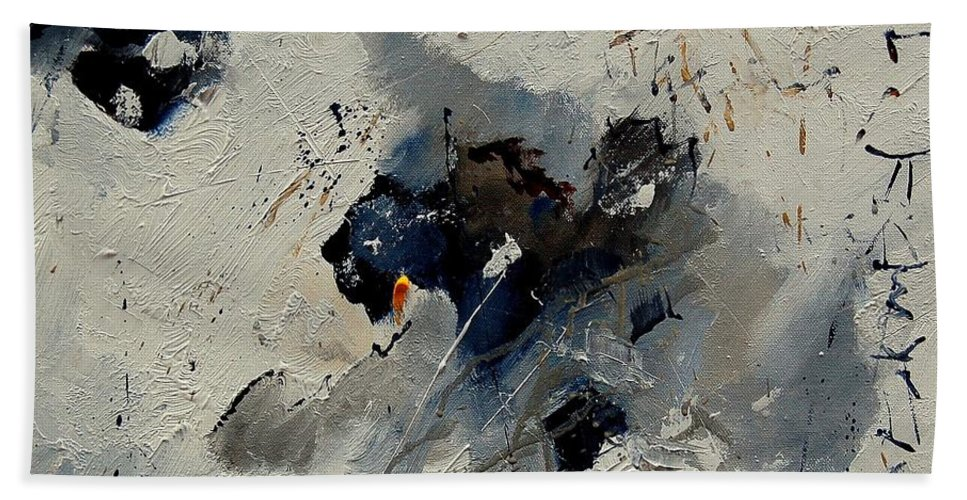 Abstract Hand Towel featuring the painting Abstract 901141 by Pol Ledent