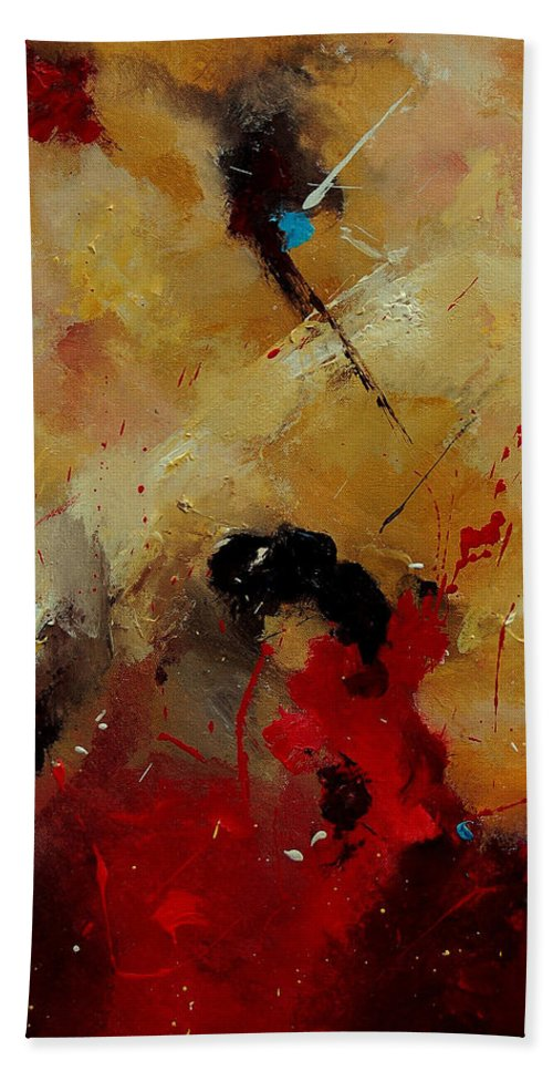 Abstract Hand Towel featuring the painting Abstract 901156 by Pol Ledent