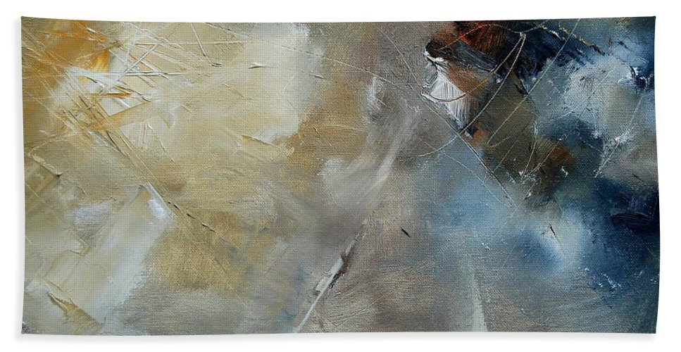 Abstract Bath Towel featuring the painting Abstract 904060 by Pol Ledent