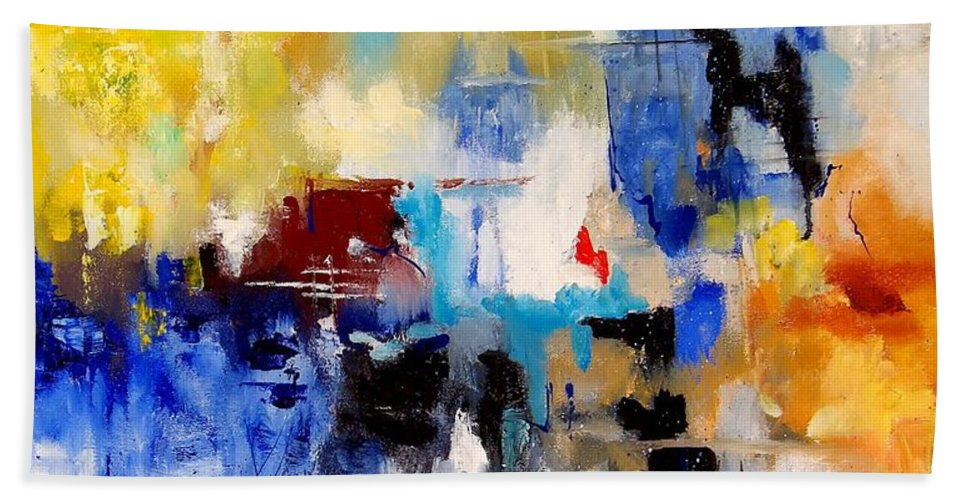 Abstract Hand Towel featuring the painting Abstract 905003 by Pol Ledent