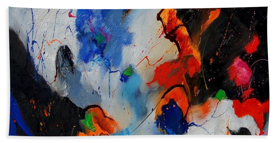 Abstract Hand Towel featuring the painting Abstract 905060 by Pol Ledent