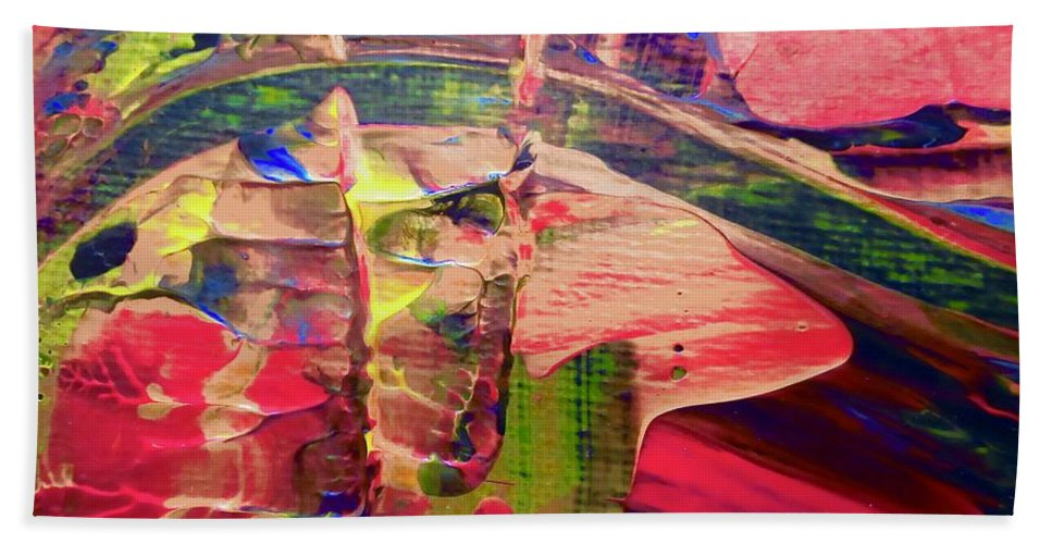 Red Hand Towel featuring the painting Abstract 9096 by Stephanie Moore