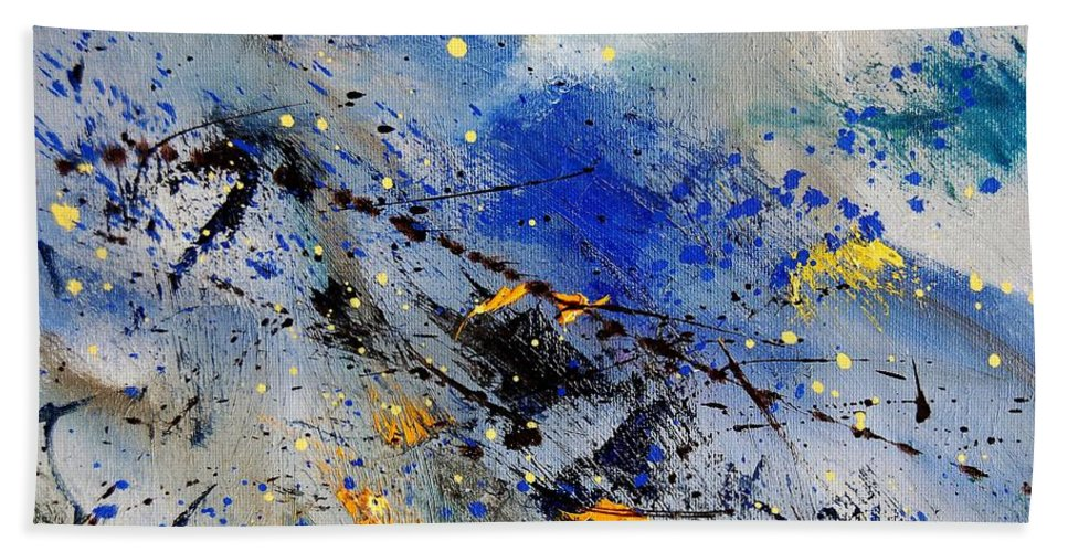 Abstract Hand Towel featuring the painting Abstract 969090 by Pol Ledent