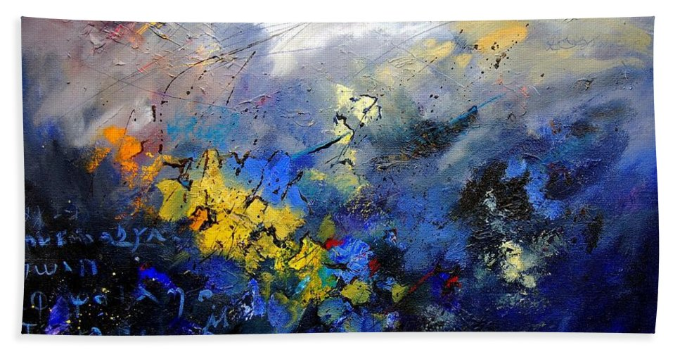 Abstract Hand Towel featuring the painting Abstract 970208 by Pol Ledent