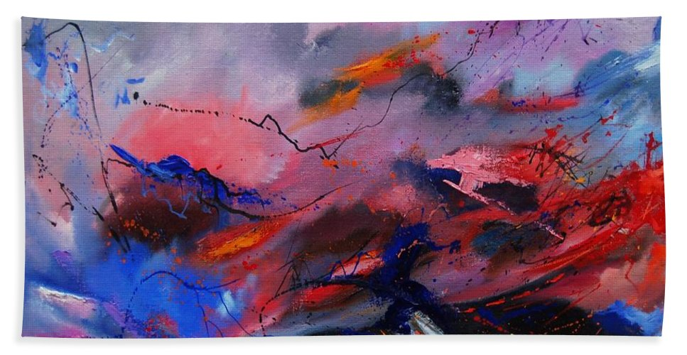 Abstract Hand Towel featuring the painting Abstract 971260 by Pol Ledent