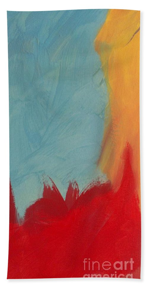 Abstract Hand Towel featuring the painting Abstract Art 6 by LKB Art and Photography
