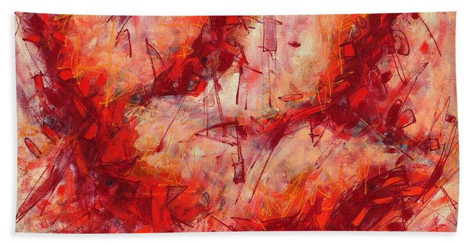 Abstract Hand Towel featuring the painting Abstract Art Nineteen by Lynne Taetzsch