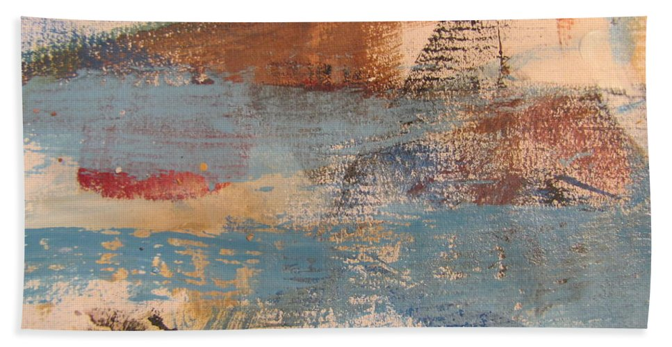 Abstract Hand Towel featuring the painting Abstract At Sea 2 by Anita Burgermeister