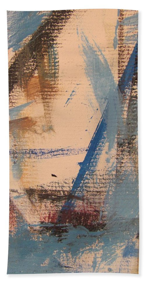 Abstract Hand Towel featuring the painting Abstract At Sea 3 by Anita Burgermeister
