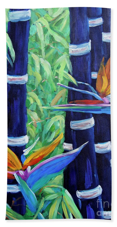 Art Hand Towel featuring the painting Abstract Bamboo And Birds Of Paradise 04 by Richard T Pranke