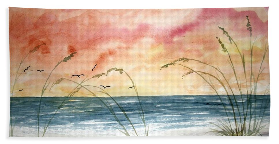 Abstract Hand Towel featuring the painting Abstract Beach Painting by Derek Mccrea