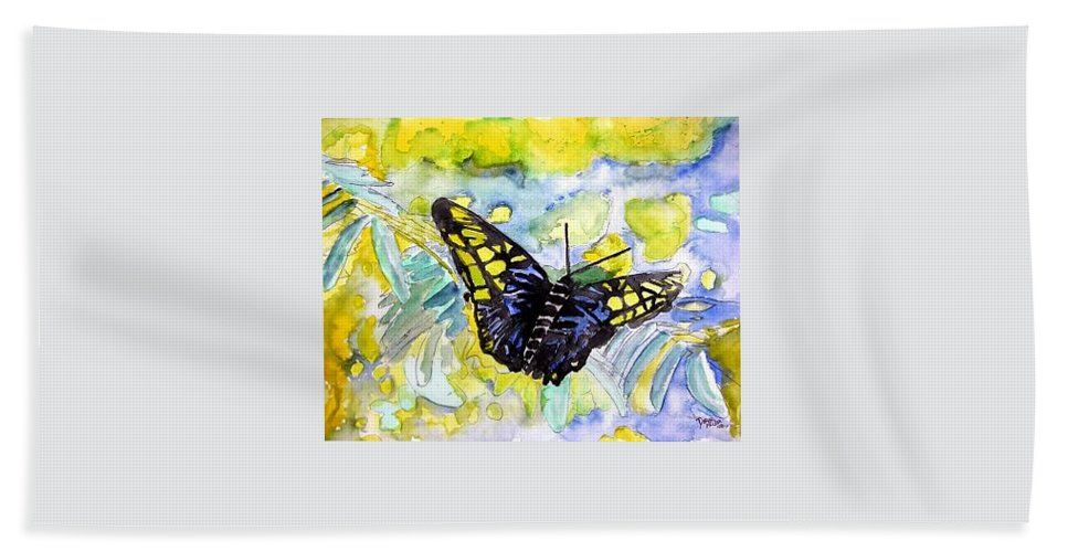 Abstract Hand Towel featuring the painting Abstract Butterfly by Derek Mccrea