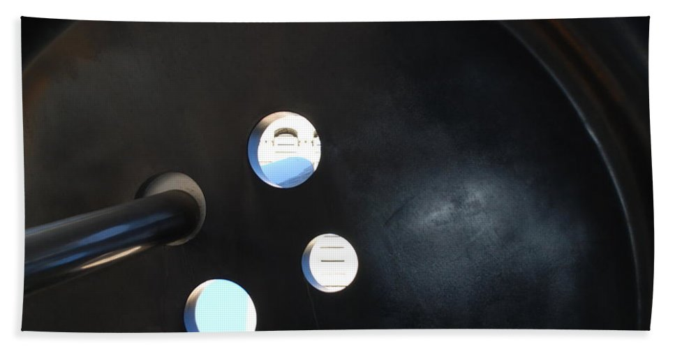 Button Hand Towel featuring the photograph Abstract Button Holes by Rob Hans