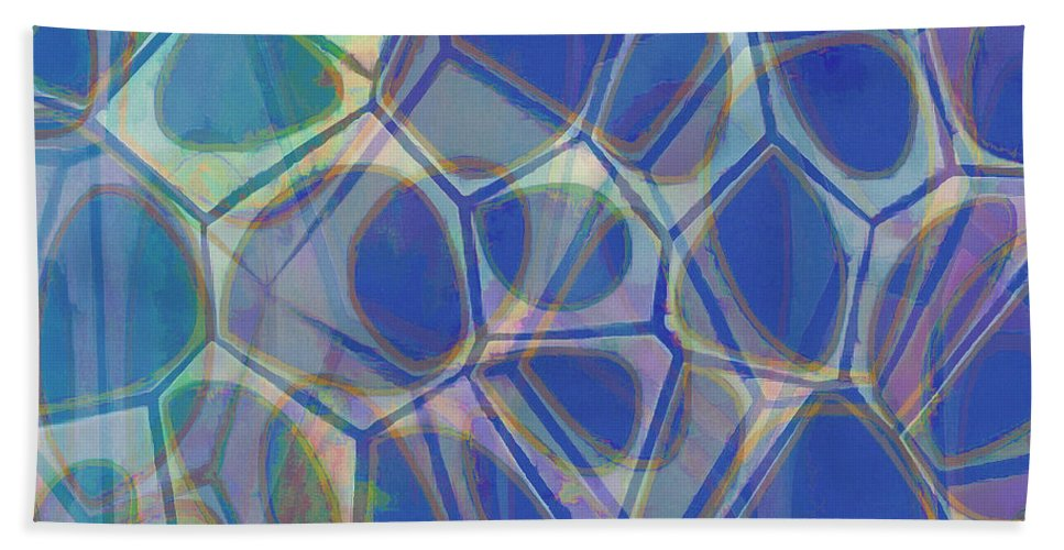 Square Bath Sheet featuring the painting Cells 7 - Abstract Painting by Edward Fielding