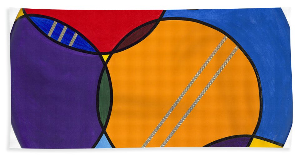Circles Canvas Hand Towel featuring the painting Abstract Circles 2 by Patty Vicknair