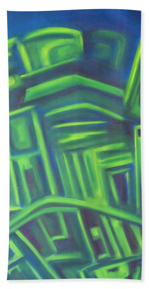 Minimalist Bath Sheet featuring the painting Abstract Cityscape Series IIi by Patricia Cleasby