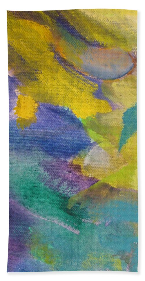 Abstact Bath Sheet featuring the painting Abstract Close Up 13 by Anita Burgermeister