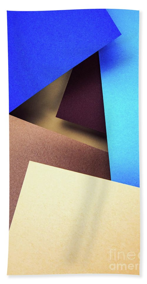 Brown Hand Towel featuring the photograph Abstract Composition With Colored Paper by Jozef Jankola