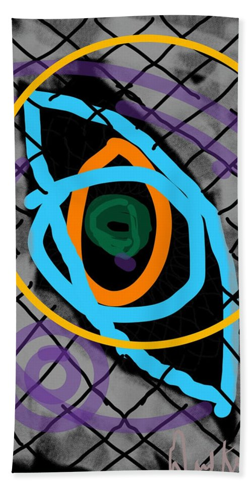 Eye Circle Modern Purple Yellow Green Blue Grey Bath Sheet featuring the digital art Abstract Eye by David R Keith