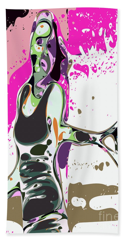 Tennis Bath Sheet featuring the digital art Abstract Female Tennis Player by Chris Butler