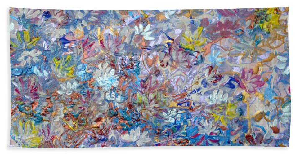 Purple Bath Sheet featuring the painting Abstract Floral by Karin Dawn Kelshall- Best