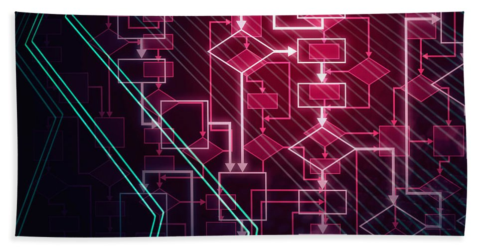 Flowchart Bath Sheet featuring the photograph Abstract Flowchart Background by Oleksiy Maksymenko