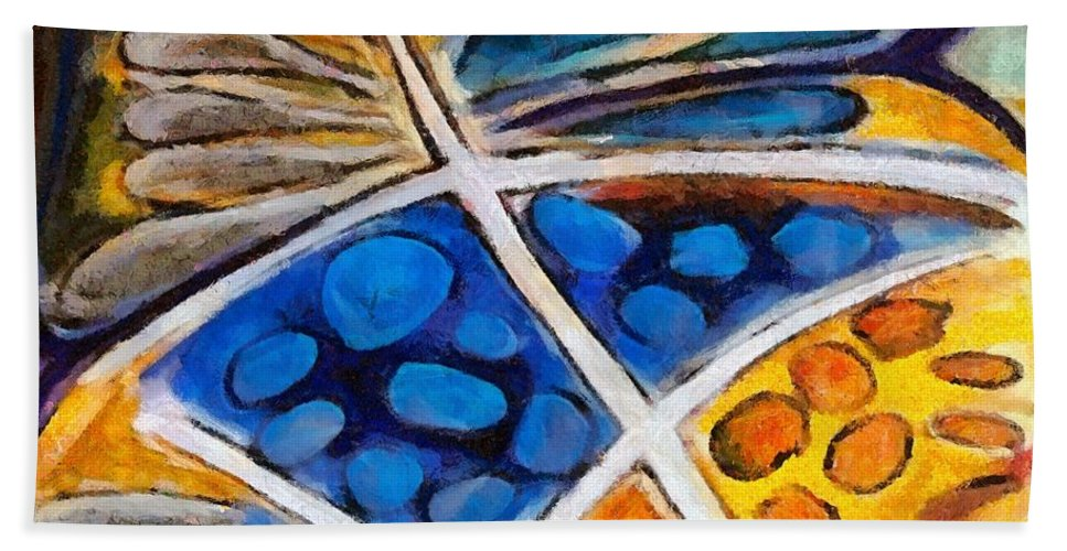 Flower Bath Sheet featuring the painting Abstract Flower by Dragica Micki Fortuna