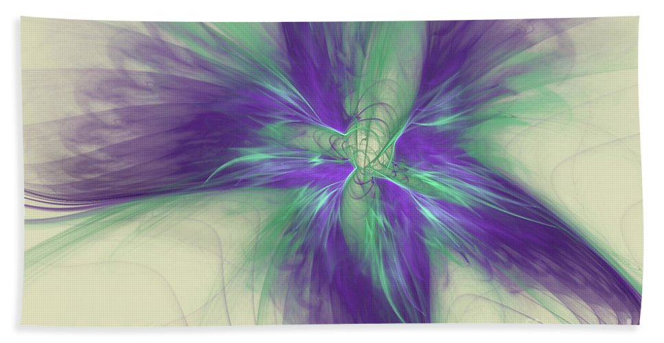Digital Hand Towel featuring the digital art Abstract Flower Sway by Deborah Benoit
