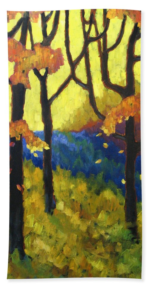 Art Bath Towel featuring the painting Abstract Forest by Richard T Pranke