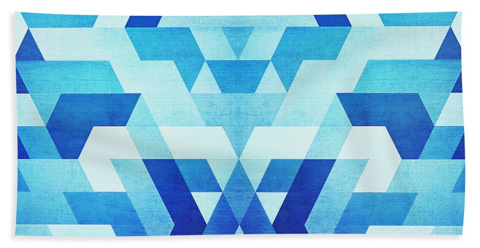 Blue Bath Sheet featuring the digital art Abstract Geometric Triangle Pattern Futuristic Future Symmetry In Ice Blue by Philipp Rietz