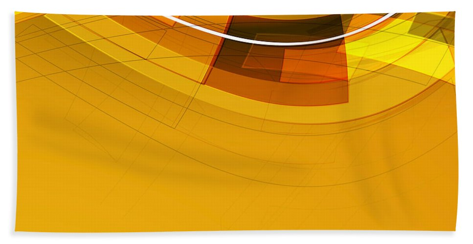 Modern Bath Sheet featuring the painting Abstract Golden Arcs And Lines by Elaine Plesser