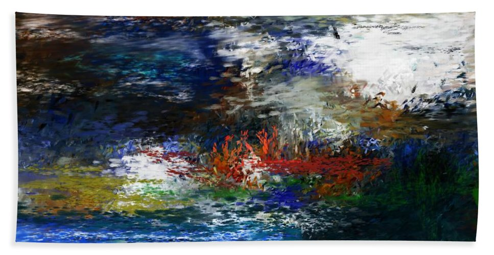 Abstract Bath Sheet featuring the digital art Abstract Impression 5-9-09 by David Lane