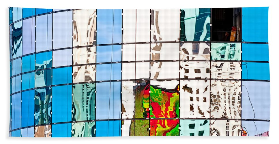 Building Bath Towel featuring the photograph Abstract In The Windows by Christopher Holmes