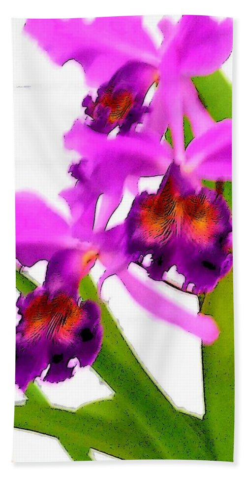 Flowers Bath Towel featuring the digital art Abstract Iris by Anita Burgermeister