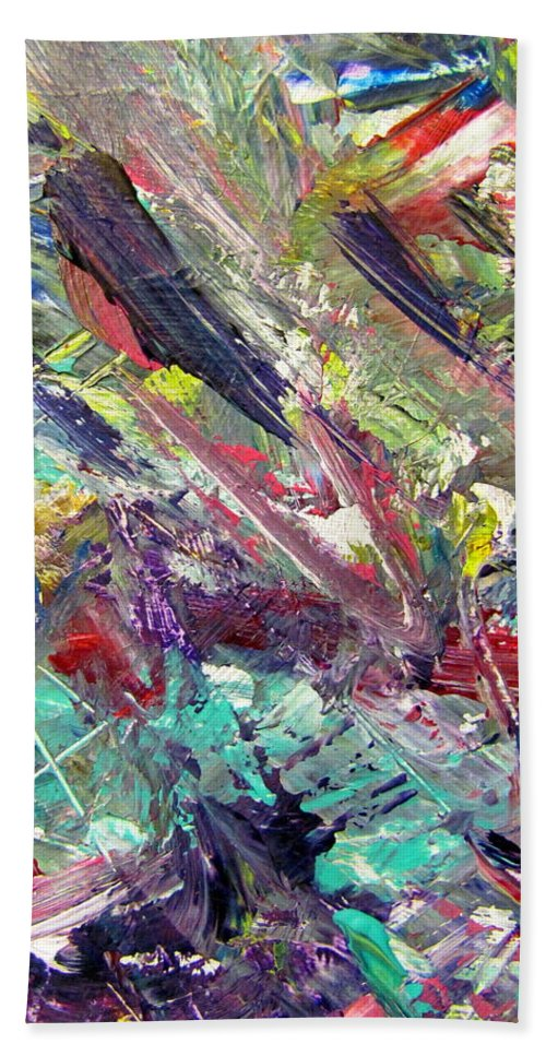 Abstract Hand Towel featuring the painting Abstract Jungle 7 by Anita Burgermeister