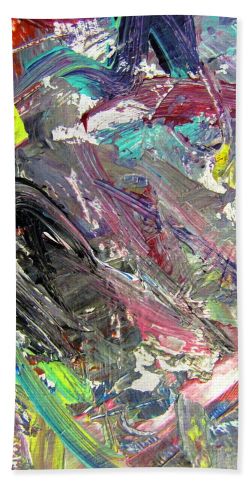 Abstract Hand Towel featuring the painting Abstract Jungle 9 by Anita Burgermeister
