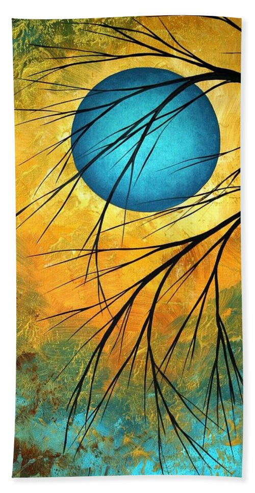 Abstract Bath Towel featuring the painting Abstract Landscape Art Passing Beauty 1 Of 5 by Megan Duncanson