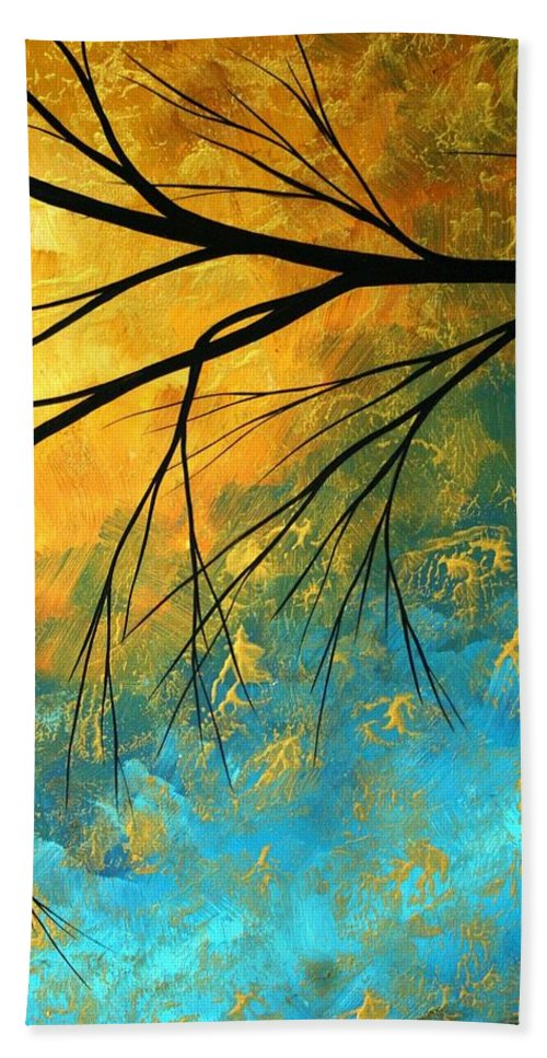 Abstract Bath Towel featuring the painting Abstract Landscape Art Passing Beauty 2 Of 5 by Megan Duncanson