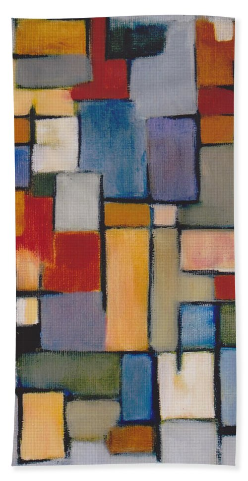 Abstract Bath Sheet featuring the painting Abstract Line Series by Patricia Cleasby